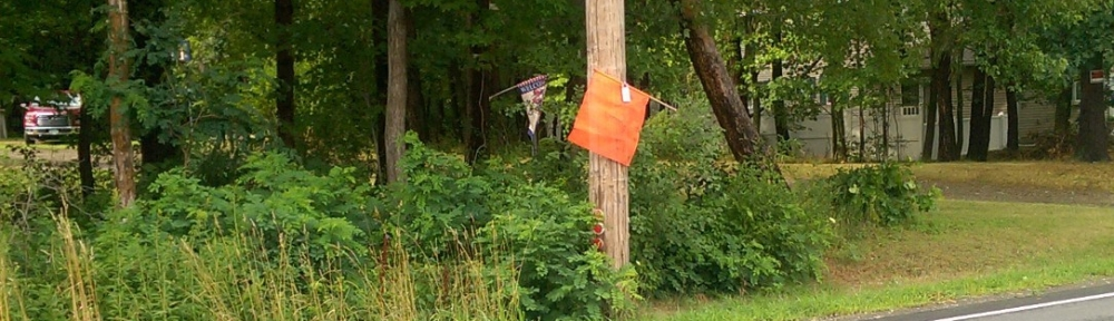 Orange flag locked to a utility pole during a power outage.