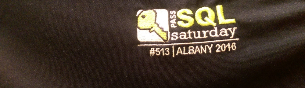 Logo on t-shirt from SQL Saturday Albany 2016
