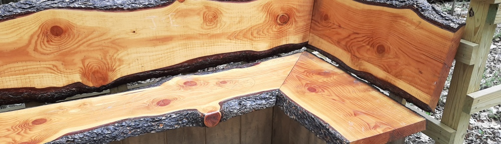 Image of L-shaped bench made out of cut logs