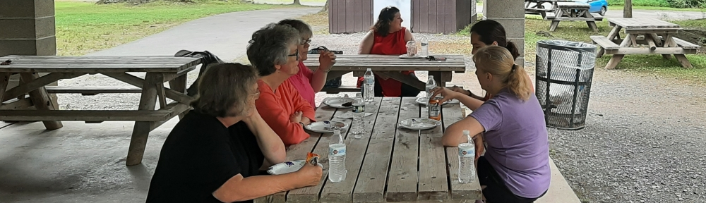 5 people sitting at a picnic table perpendicular to camera, 6th at a table in the background.