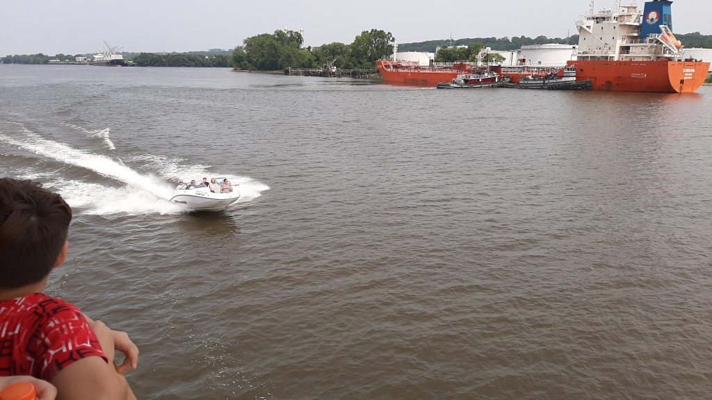 Powerboat passing us on the Hudson.